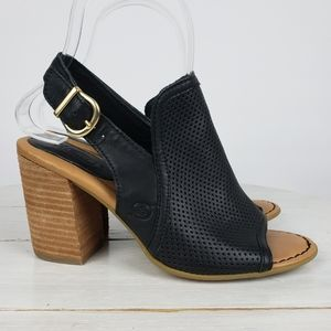 Born SUTRA perforated stacked heel sandals